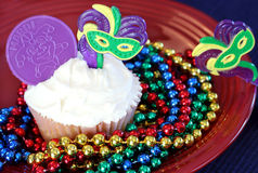 Mardi verfraaide Gras cupcake Royalty-vrije Stock Foto's