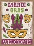 Mardigras gekleurde uitstekende affiche met Carnaval-masker en theatermasker Stock Afbeelding