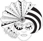 MArdigras mask. Black and white Illustration of MArdigras mask Stock Photo