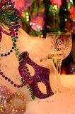 Mardi Gras colorful eye mask decorations. Celebrating and party table with festive atmosphere image with copyspace. Mardi Gras, or Fat Tuesday, refers to events royalty free stock images