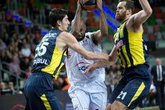 Mardy Collins, Emir Preldzić a Oguz SavaÅŸ. LUBIN 23/10/2014 _ 2nd round Euroleague basketball match between the PGE Turow Zgorzelec and Fenerbahce Ülker royalty free stock image