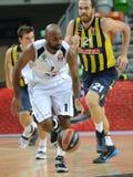 Mardy Collins a Oguz SavaÅŸ. LUBIN 23/10/2014 _ 2nd round Euroleague basketball match between the PGE Turow Zgorzelec and Fenerbahce Ülker Istanbul royalty free stock photo