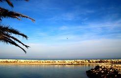 Mare adriatico con le numerose rocce sotto il cielo blu immagine stock libera da diritti