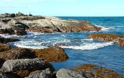 Mare & rocce & pesca Fotografia Stock Libera da Diritti