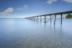 Mare aperto di vecchia vista del molo, Lahad Datu Sabah Fotografie Stock Libere da Diritti