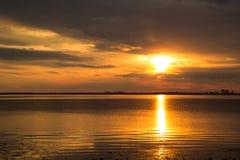 mare beabutiful del ower di tramonto Fotografia Stock Libera da Diritti