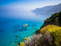 Mare calmo ad Agios Nikitas su Leucade Immagine Stock Libera da Diritti