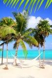Mare caraibico con la spiaggia del turchese del hammock dell'oscillazione Fotografia Stock Libera da Diritti