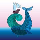 Mare che dudling, onda disegnata a mano di disegno della balena Immagine Stock