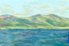 Mare & cielo delle montagne Fotografia Stock Libera da Diritti