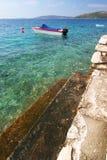 Mare con l'imbarcazione a motore Fotografie Stock