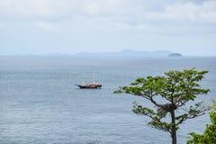Mare con le barche e gli alberi Fotografia Stock