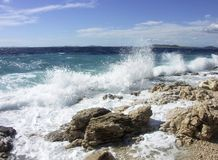 Mare con le onde Fotografie Stock Libere da Diritti