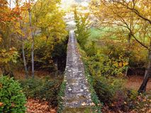 Mare de la Font. Autumn in the bridge over the way Stock Image