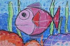 Mare dei pesci come illustrazione di carta bianca Fotografie Stock Libere da Diritti