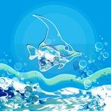 Mare del Bleu con il pesce Fotografia Stock Libera da Diritti