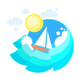 Mare del crogiolo di yacht della vela, oceano Vaction di navigazione dell'icona illustrazione di stock