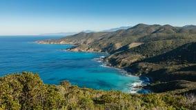 Mare del turchese sulla costa del DES Agriates del deserto in Corsica Fotografia Stock Libera da Diritti