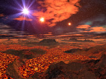 Mare della lava sul pianeta straniero Immagine Stock