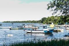 Mare di giorno soleggiato dei pescatori dei pescherecci delle barche e mare ed alberi blu del mare della montagna Fotografie Stock