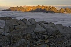 Mare di nebbia sopra la valle di Chamonix-Mont-Blanc Fotografia Stock