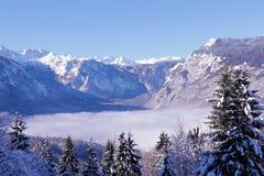 Mare di nebbia in valle della montagna Immagine Stock