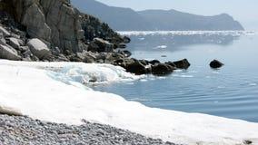 Mare di Okhotsk della costa del nord fotografie stock libere da diritti