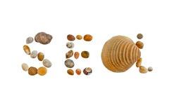 Mare di parola fatto delle pietre e delle coperture immagini stock libere da diritti