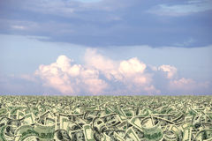 Mare di soldi o dello sbarco dei soldi Fotografia Stock Libera da Diritti