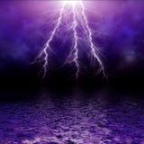 Mare di tempesta di illuminazione Fotografie Stock Libere da Diritti