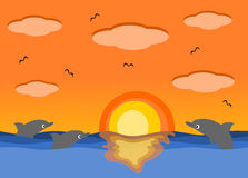 Mare di tramonto e la bella illustrazione del fumetto dei delfini Fotografia Stock Libera da Diritti