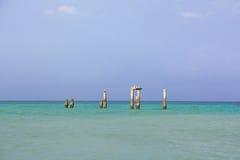 Mare e cielo con le rovine delle colonne Fotografia Stock
