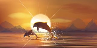 Mare e delfini di tramonto di vettore Fotografia Stock Libera da Diritti