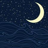 Mare e notte stellata Fotografia Stock
