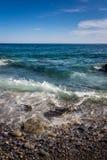 Mare e pietre, Cinque Terre, Italia Fotografie Stock