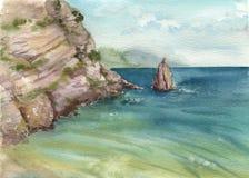 Mare e rocce dell'acquerello Fotografie Stock