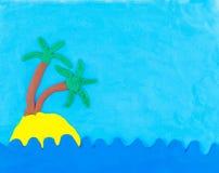 Mare ed isola fatti da argilla Immagine Stock