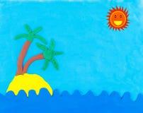 Mare ed isola fatti da argilla con il sole Immagine Stock Libera da Diritti