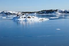 Mare ed isole congelati Immagini Stock
