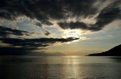 Mare ionico al tramonto fotografia stock libera da diritti