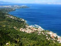 Mare ionico del paesaggio della costa sull'isola di Corfù fotografia stock libera da diritti
