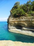 Mare ionico del paesaggio famoso della spiaggia di Sidari sull'isola di Corfù fotografia stock libera da diritti