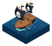 Mare isometrico di simbolo dell'icona della nave di pirata 3d Fotografia Stock Libera da Diritti