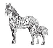 Mare with little foal zentangle stylized. Freehand pencil. Zen art. Vector illustration.
