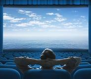Mare o oceano sullo schermo del cinema Immagini Stock Libere da Diritti