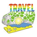 Mare Palm Beach del sole di viaggio Illustrazione di Stock