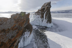 Mare& x27;s head Cape, Lake Baikal, Olkhon island. Winter landscape Royalty Free Stock Images