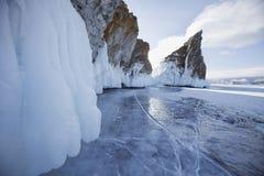 Mare& x27;s head Cape, Lake Baikal, Olkhon island. Winter landscape Royalty Free Stock Photography