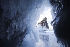 Mare`s head Cape, Lake Baikal, Olkhon island. Winter landscape Royalty Free Stock Images