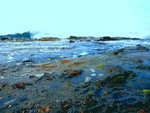 Mare scuro grave pericoloso con le pietre, onde, tempesta sulla spiaggia selvaggia immagine stock libera da diritti